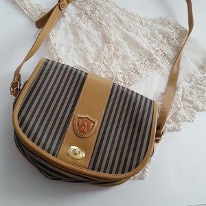 Vertical stripe vintage saddle bag crossbody